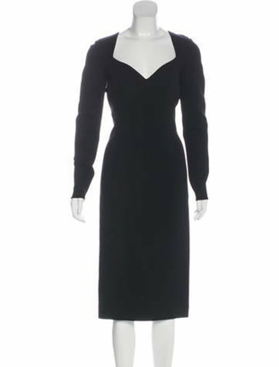Lanvin Long Sleeve Midi Dress Black