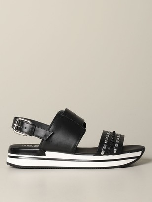 Hogan Flat Sandals Sandal In Laminated Leather With 222 Sole