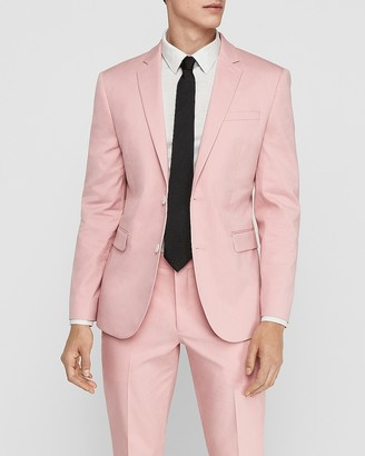 Express Extra Slim Pink Cotton-Blend Stretch Suit Jacket