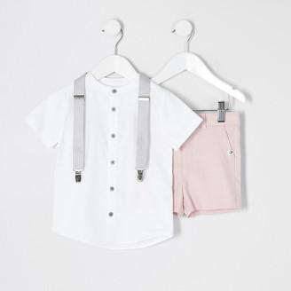 River Island Mini boys pink grandad shirt suit set