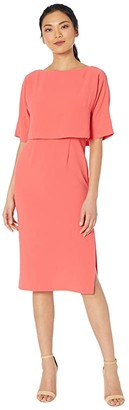 Adrianna Papell Cameron Crepe Popover Sheath Dress (Sugar Coral) Women's Dress