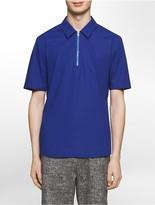 Calvin Klein Platinum Skinny Fit Stretch Poplin Zip-Neck Short-Sleeve Shirt