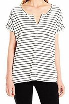Calvin Klein Jeans Women's Stripe Short Sleeve Henley