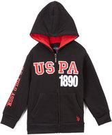 U.S. Polo Assn. Black & Red 'USPA' Zip-Up Hoodie - Boys