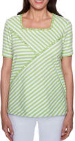 Alfred Dunner Turqs And Caicos Short Sleeve Square Neck Stripe T-Shirt-Womens
