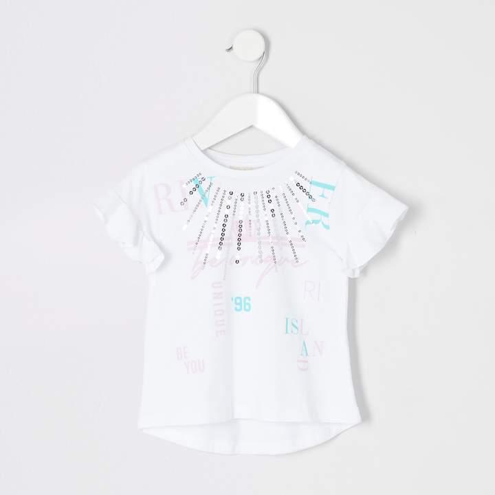 River Island Mini girls White RI Active printed T-shirt