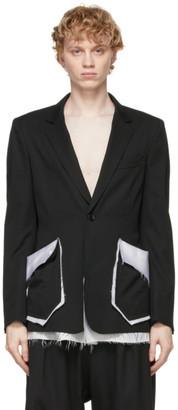 Sulvam Black and White Wool Layered Blazer