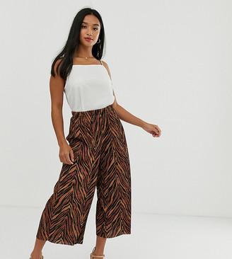 Asos DESIGN Petite plisse culotte in dark zebra print