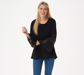 Susan Graver Liquid Knit Top w/ Clipped Jacquard Peplum and Sleeves