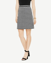 Ann Taylor Petite Houndstooth Fringe A-Line Skirt