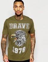 Diesel T-shirt T-joe-b Crewneck Brave Eagle Foil Print In Green