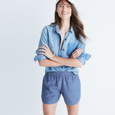 Madewell Cotton-Linen Pull-On Shorts in Chambray Stripe