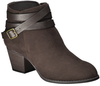 Mossimo Women's Kirianna Ankle Boot with Strap - Brown