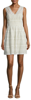 BCBGMAXAZRIA Cotton V-Neck Flared Dress