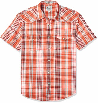 Lucky Brand Men's Short Sleeve Button UP Orange Plaid Santa FE Western Shirt
