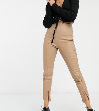 Collusion faux leather fitted legging with front split