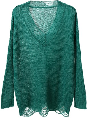Goodnight Macaroon 'Raine' Distressed Sheer Long Knit Top (6 Colors)