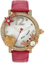 Betsey Johnson Women's Pink Leather Strap Watch 44mm BJ00446-04