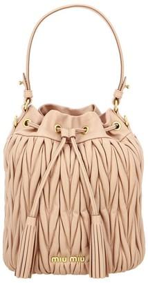 Miu Miu Large Bucket Bag In Matelasseacute; Leather