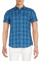 Calvin Klein Jeans Plaid Cotton Short Sleeve Western Shirt