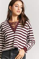 Forever 21 Lace-Up Striped Top
