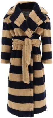 Max Mara TEDDY9 COAT 36 Blue, Brown Wool, Silk