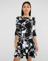 Club L Button Slevee Skater Dress In Mono Floral Print