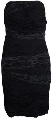 Catherine Malandrino Black Ruched Silk Strapless Dress S