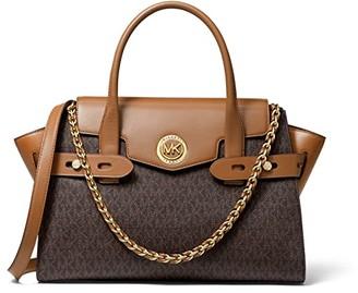 MICHAEL Michael Kors Carmen Large Flap Satchel (Brown/Acorn) Handbags