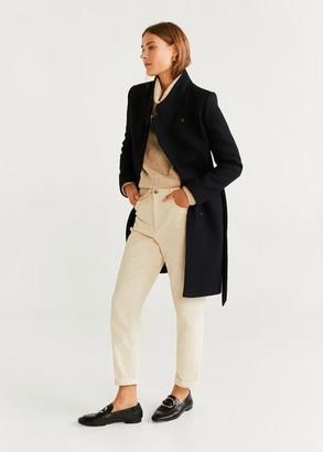 MANGO Belted wool coat black - L - Women