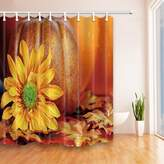 Flower Decor Shower Curtains By KOTOM Yellow Flower And Pumpkin Photography Print Bath Curtains, 69X70 Inches