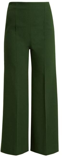 Emilia Wickstead Hullinie Wide Leg Cloque Stretch Crepe Trousers - Womens - Dark Green
