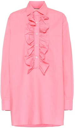 Plan C Oversized ruffled cotton blouse