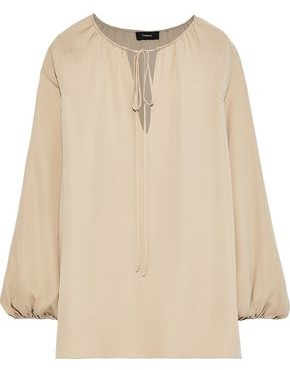 Theory Gathered Silk-crepe Blouse