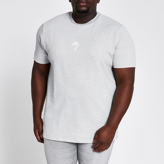 River Island Big and Tall Maison Riviera grey T-shirt