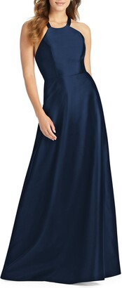 Alfred Sung Lace-Up Back Satin Twill A-Line Gown
