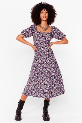 Nasty Gal Womens Smock It Off Floral Midi Dress - Black