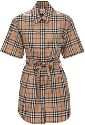 Burberry Vintage Check Cotton Twill Shirt Dress