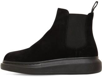 Alexander McQueen 45mm Hybrid Suede Slip-On Boots