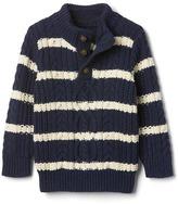Gap Striped button mockneck sweater