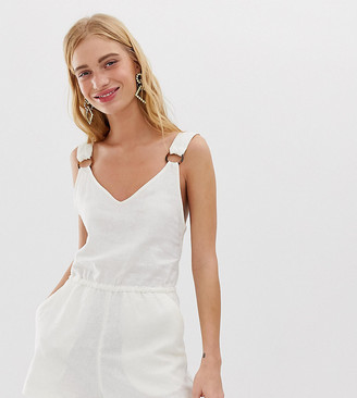 Monki linen playsuit in off white
