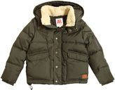 American Outfitters Hooded Faux Shearling & Nylon Jacket