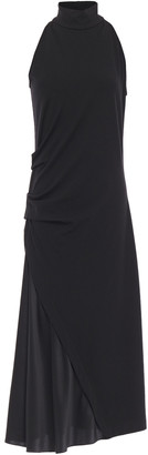 Brunello Cucinelli Paneled Silk-satin Crepe And Wool-blend Jersey Midi Dress