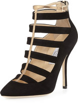 Jimmy Choo Freeze Strappy Cage Pump, Black/Gold