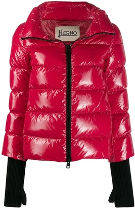 Herno glove detail puffer jacket