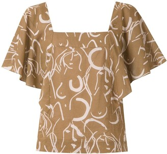 Andrea Marques Printed Ruffle Sleeves Blouse
