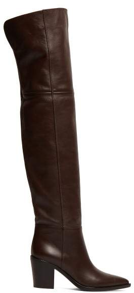 Gianvito Rossi Western 85 Leather Over The Knee Boots - Womens - Dark Brown
