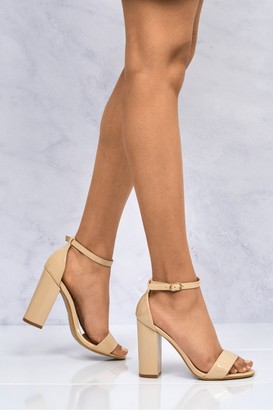 Miss Diva May Barely There Block Heel Ankle Strap Sandal In Nude Patent