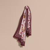 Burberry Garden Floral Print Cashmere Scarf