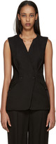 Esteban Cortazar Black Crepe Double-breasted Vest